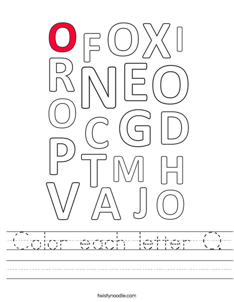 Color each letter O. Worksheet
