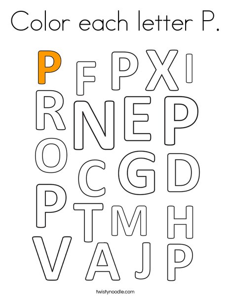 Color each letter P. Coloring Page