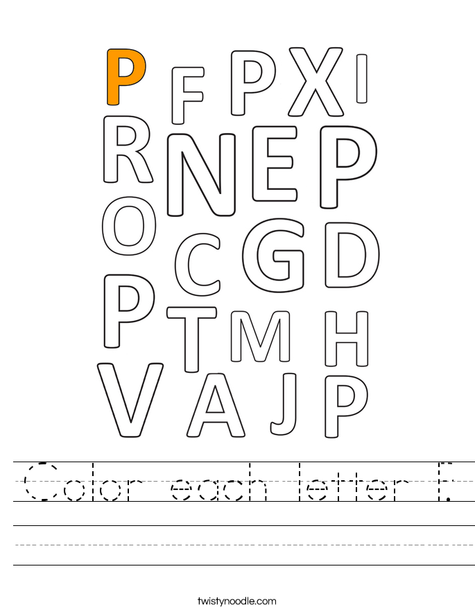 Color each letter P. Worksheet