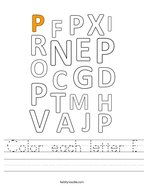 Color each letter P Handwriting Sheet