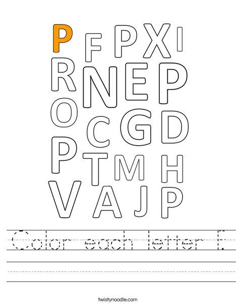 Color each letter P. Worksheet