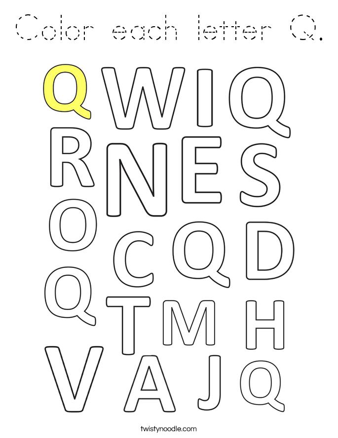 Color each letter Q. Coloring Page