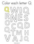 Color Each Letter Q Coloring Page