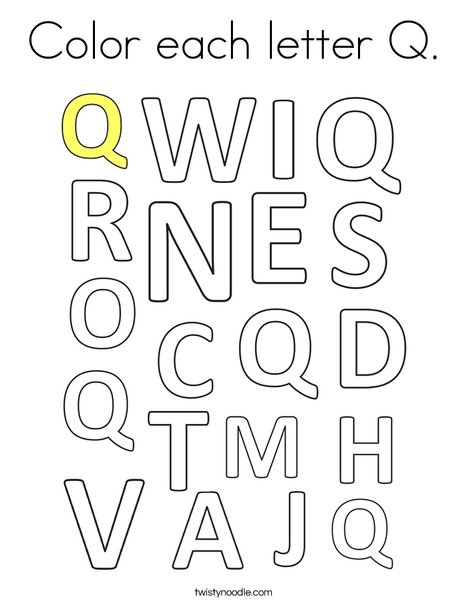 Color each letter Q. Coloring Page