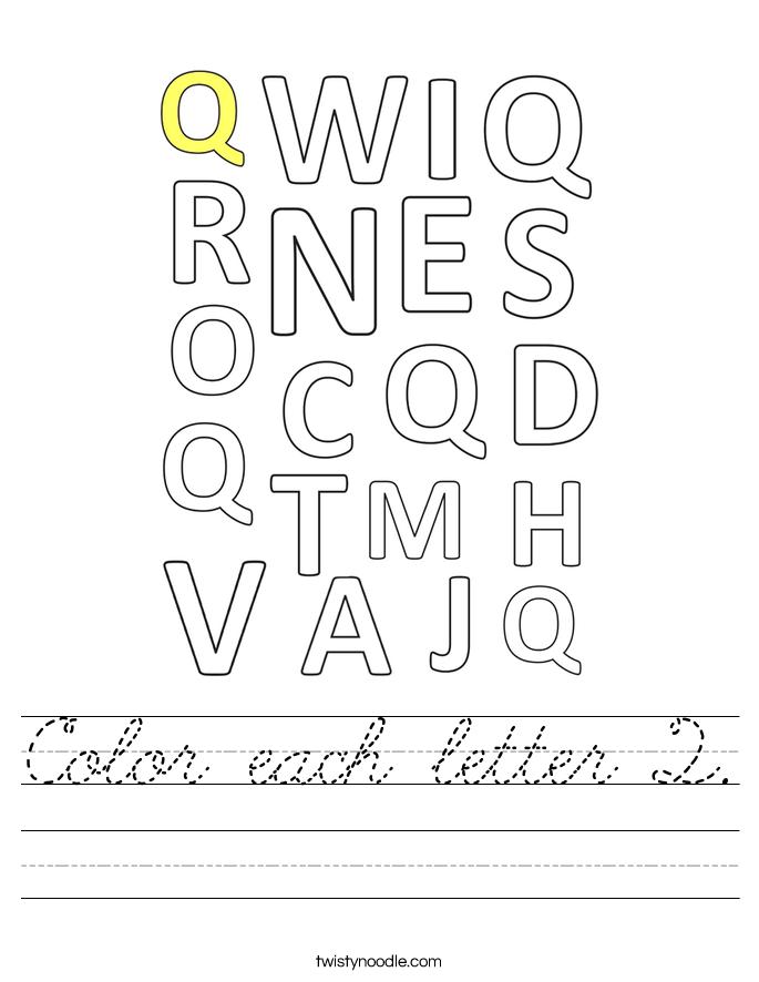 Color each letter Q. Worksheet