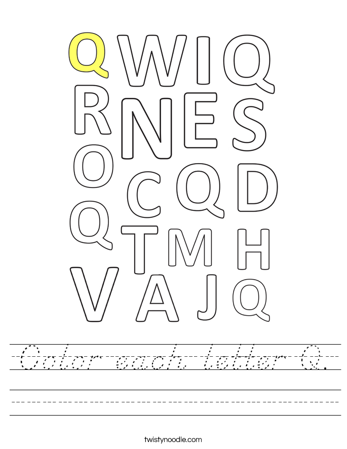 Color each letter Q. Worksheet