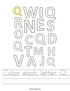 Color each letter Q Handwriting Sheet
