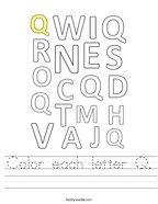 Color each letter Q Handwriting Sheet