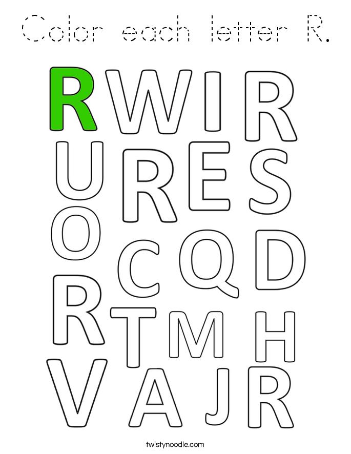 Color each letter R. Coloring Page