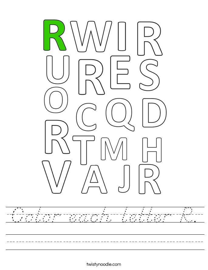 Color each letter R. Worksheet