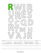 Color each letter R Handwriting Sheet