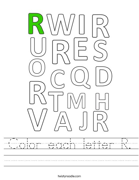Color each letter R. Worksheet