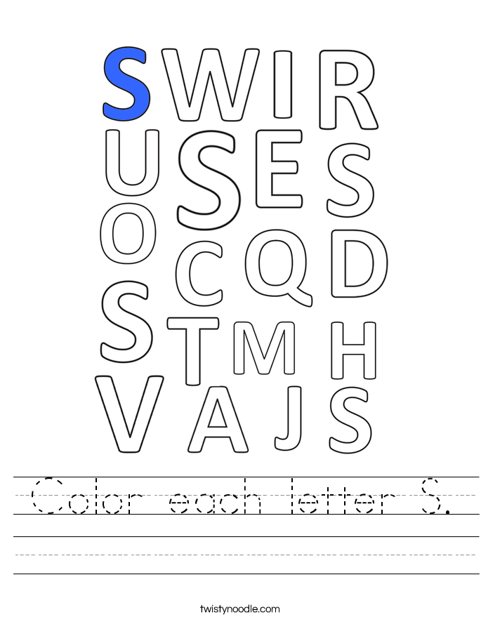 Color each letter S. Worksheet