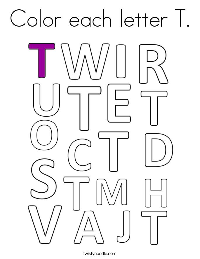 Color each letter T. Coloring Page