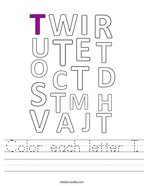 Color each letter T Handwriting Sheet