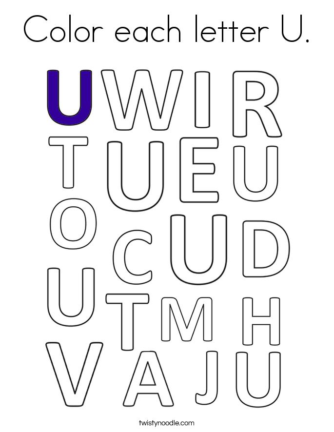 Color each letter U. Coloring Page