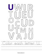 Color each letter U Handwriting Sheet