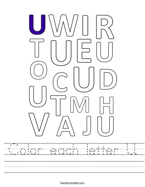 Color each letter U. Worksheet