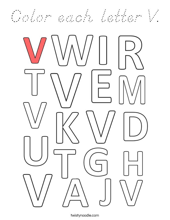 Color each letter V. Coloring Page