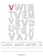 Color each letter V Handwriting Sheet