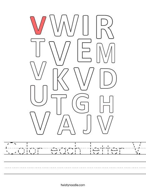 Color each letter V. Worksheet