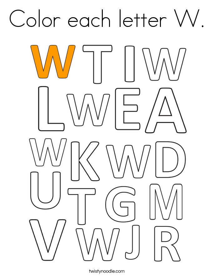 Color each letter W. Coloring Page