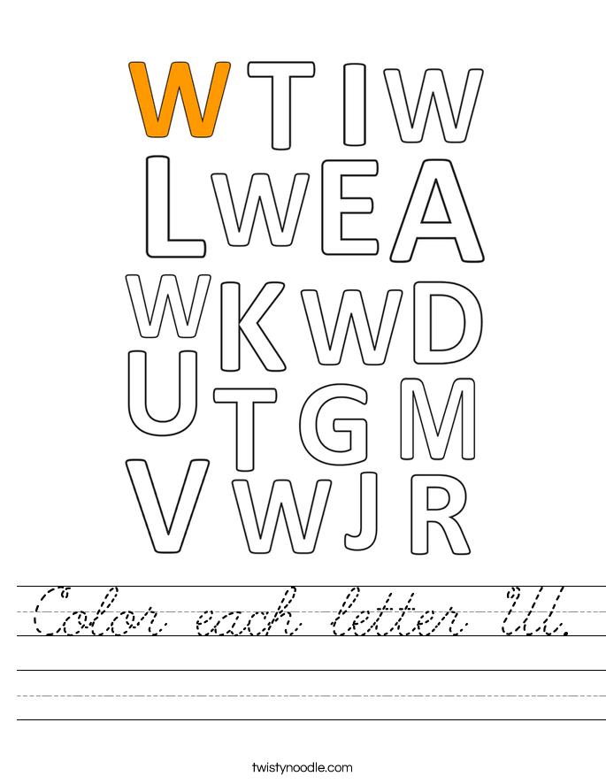 Color each letter W. Worksheet
