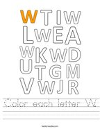 Color each letter W Handwriting Sheet