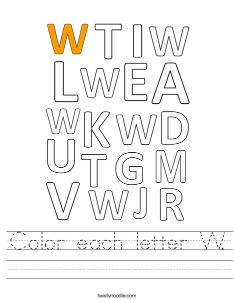 Color each letter W. Worksheet