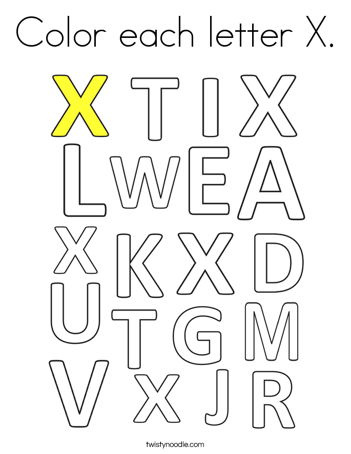 Color each letter X. Coloring Page