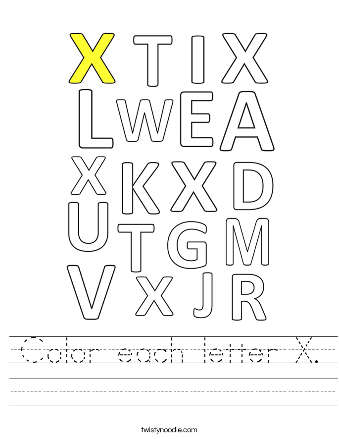 Color each letter X. Worksheet