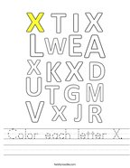 Color each letter X Handwriting Sheet