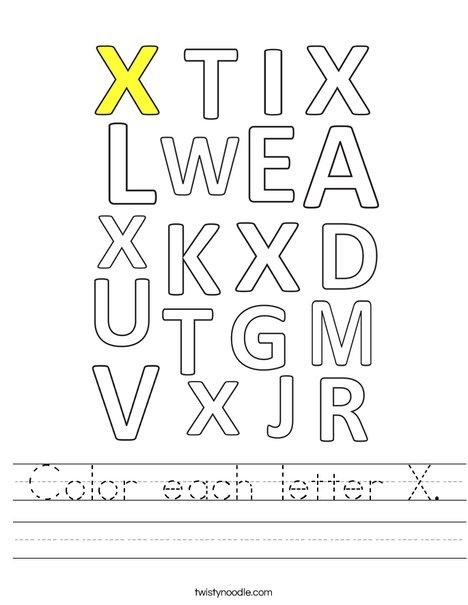 Color each letter X. Worksheet