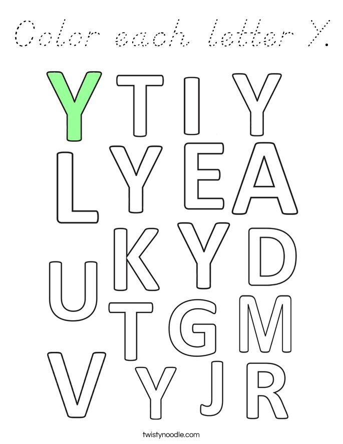Color each letter Y Coloring Page - D'Nealian - Twisty Noodle