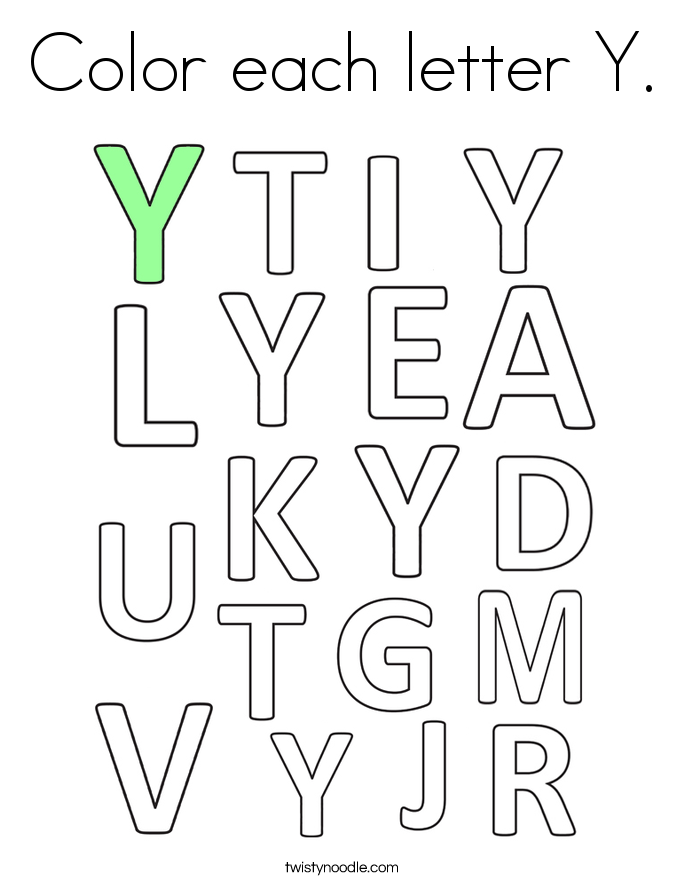 Color each letter Y. Coloring Page