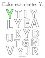 Color each letter Y Coloring Page