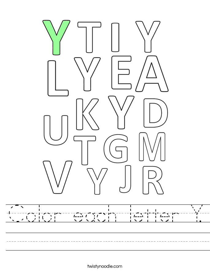 Color each letter Y. Worksheet