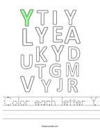 Color each letter Y Handwriting Sheet