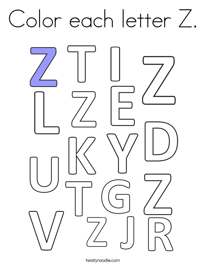 Color each letter Z. Coloring Page
