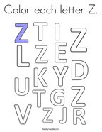 Color each letter Z Coloring Page