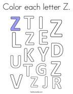 Color each letter Z Coloring Page