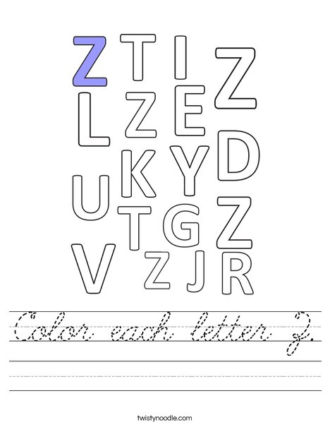 Color each letter Z. Worksheet
