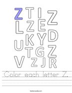 Color each letter Z Handwriting Sheet