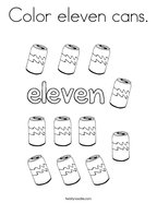 Color eleven cans Coloring Page