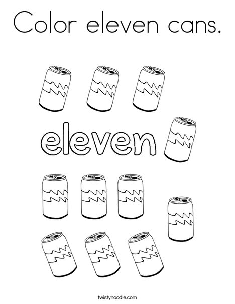 Color eleven cans. Coloring Page