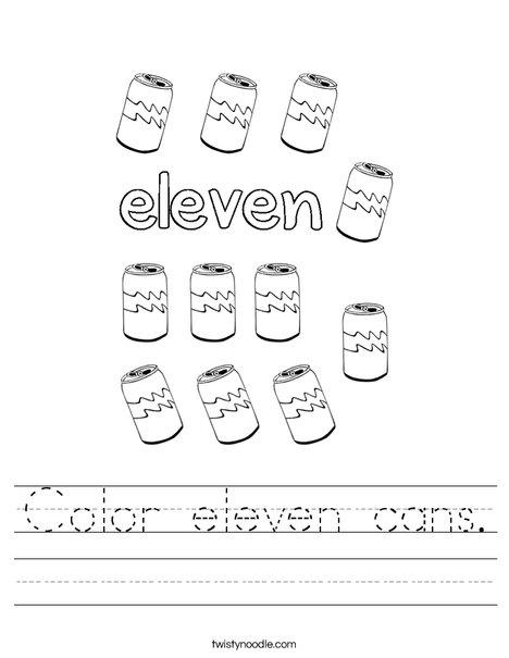 Color eleven cans. Worksheet