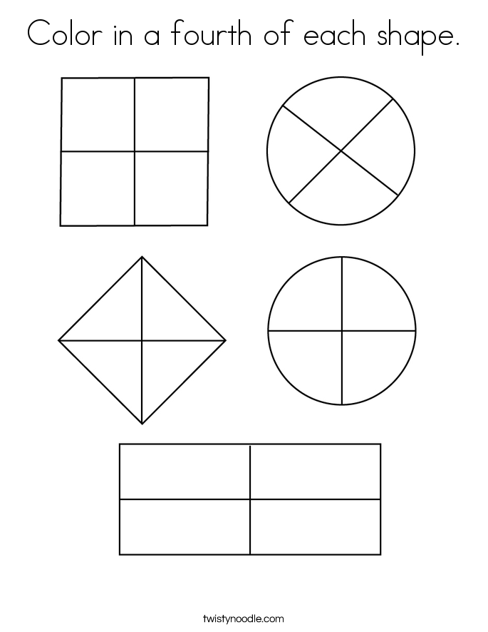 Color in a fourth of each shape. Coloring Page
