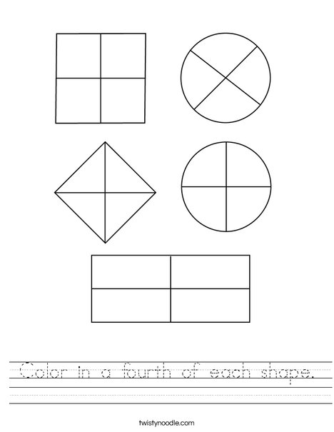Color in a fourth of each shape. Worksheet