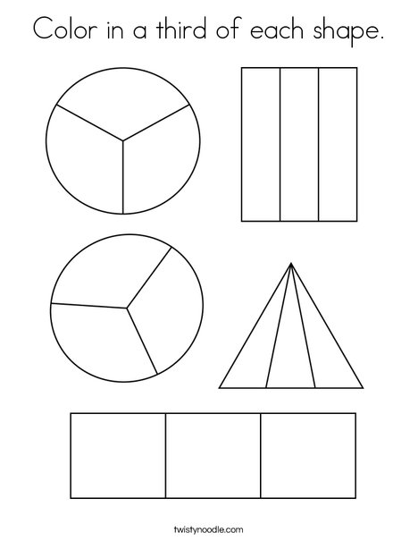Color in a third of each shape. Coloring Page