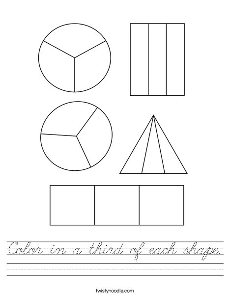 Color in a third of each shape. Worksheet